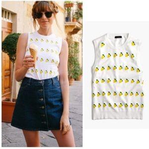 J. Crew Lemon Print Sweater Vest